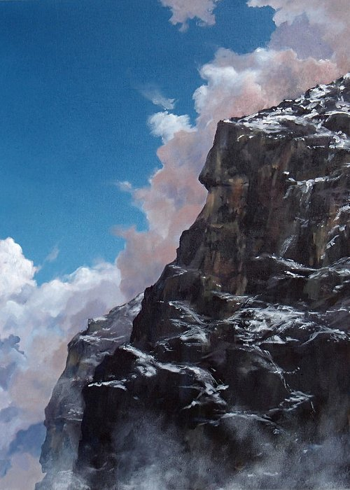 Landscape Greeting Card featuring the painting Yosemite by Philip Fleischer