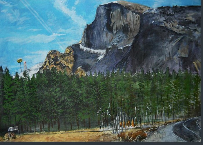 Half Dome Greeting Card featuring the painting Yosemite Political Statement by Travis Day