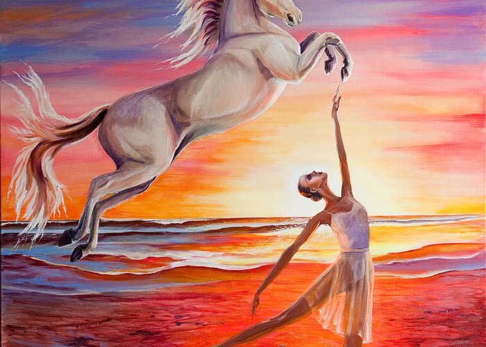 Fantasy Greeting Card featuring the painting You Are Andalusian by Diane Rose Medlin