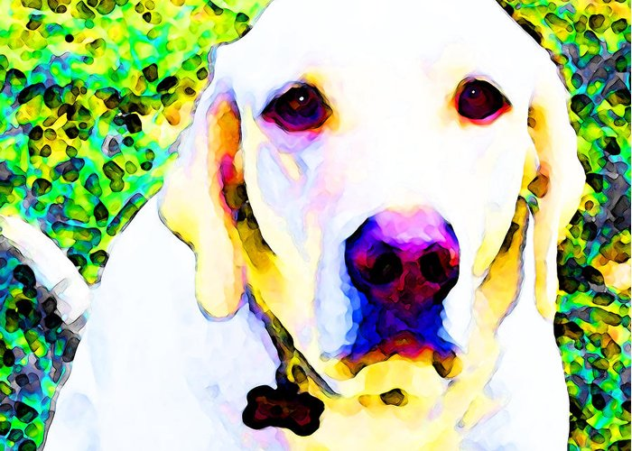 Lab Greeting Card featuring the painting You Are My World - Yellow Lab Art by Sharon Cummings
