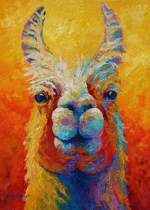Llama Greeting Card featuring the painting You Lookin At Me by Marion Rose