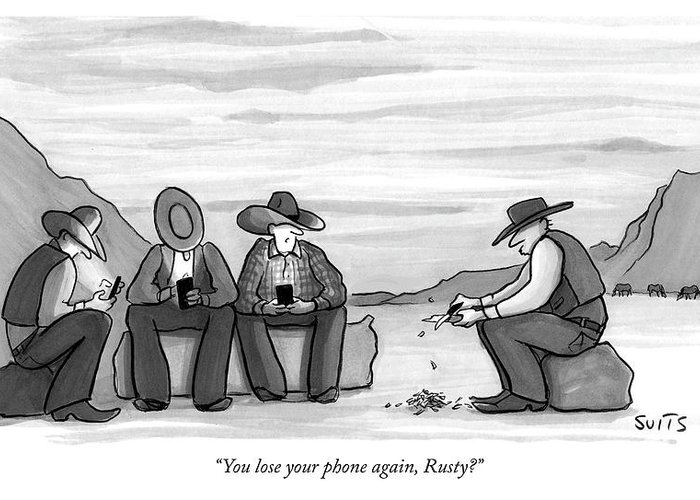"""""""you Lose Your Phone Again Greeting Card featuring the drawing You Lose Your Phone Again by Julia Suits"""