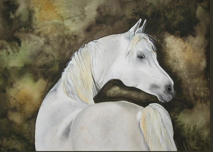 Horse Greeting Card featuring the painting You Talking To Me by Jean Blackmer
