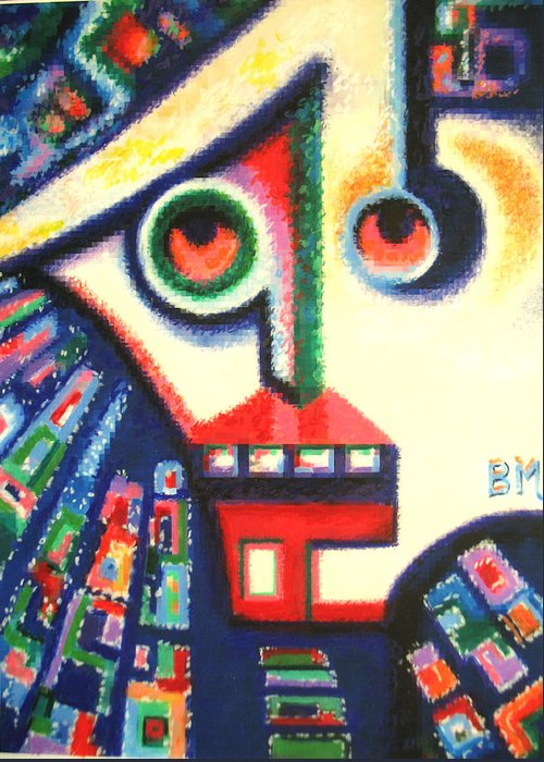 Abstract Greeting Card featuring the painting Young And Impressionable by Bill Meeker