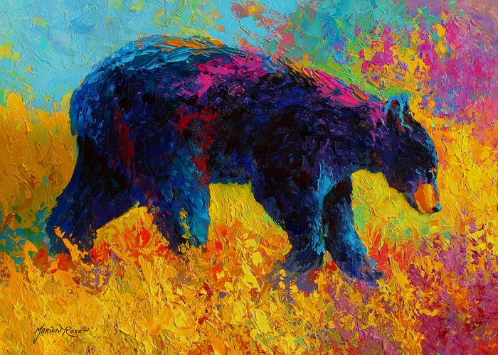 Bear Greeting Card featuring the painting Young And Restless - Black Bear by Marion Rose