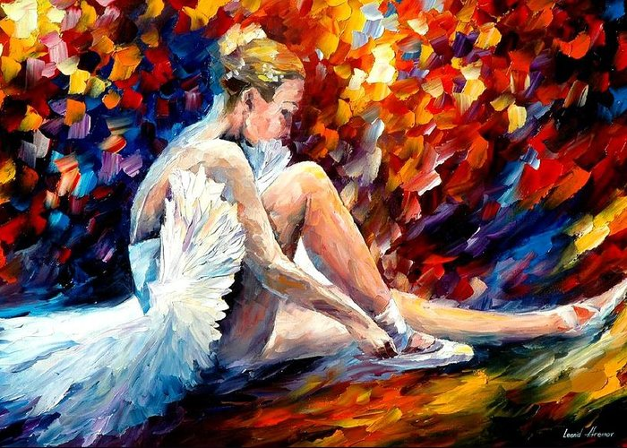 Dancer Greeting Card featuring the painting Young Ballerina by Leonid Afremov