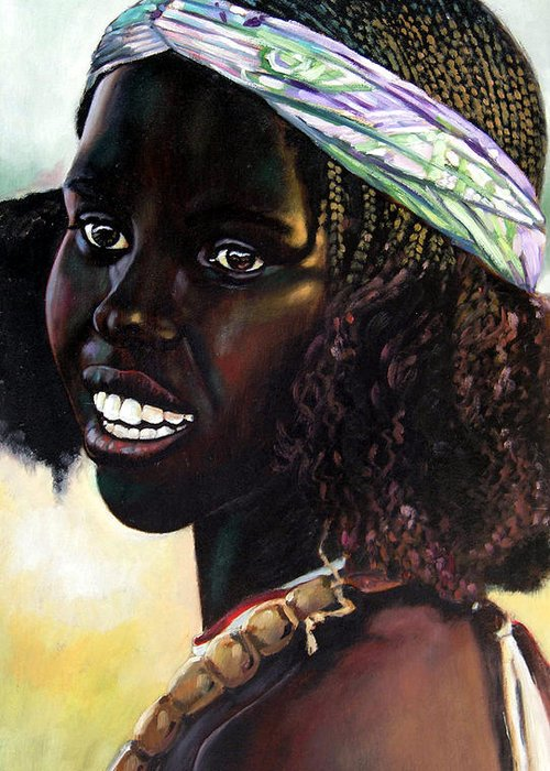 Young Black African Girl Greeting Card featuring the painting Young Black African Girl by John Lautermilch