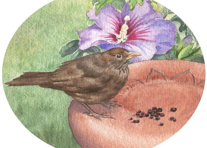 Bird. Wildlife Greeting Card featuring the painting Young Blackbird After Raisins by Maureen Carter