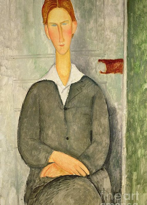 Young Greeting Card featuring the painting Young Boy With Red Hair by Amedeo Modigliani