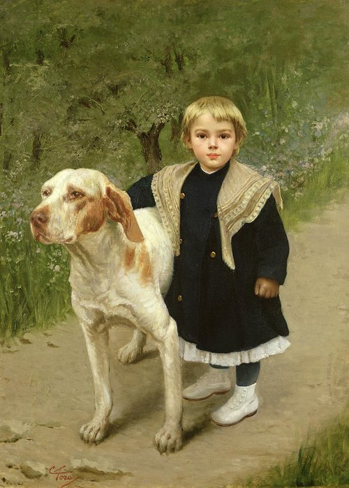 Young Greeting Card featuring the painting Young Child And A Big Dog by Luigi Toro