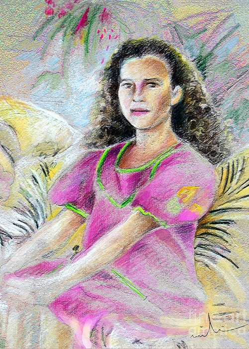 Younf Girl From Tahiti Portrait Greeting Card featuring the painting Young Girl From Tahiti by Miki De Goodaboom