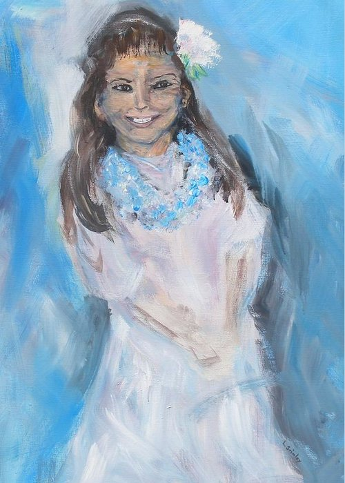 Young Girl Greeting Card featuring the painting Young Girl by Lessandra Grimley
