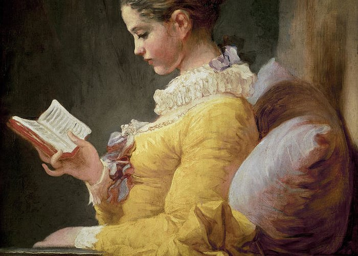 Young Greeting Card featuring the painting Young Girl Reading by JeanHonore Fragonard