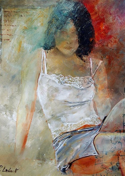 Nude Greeting Card featuring the painting Young Girl Sitting by Pol Ledent