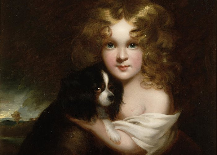 Young Greeting Card featuring the painting Young Girl With A Dog by Margaret Sarah Carpenter