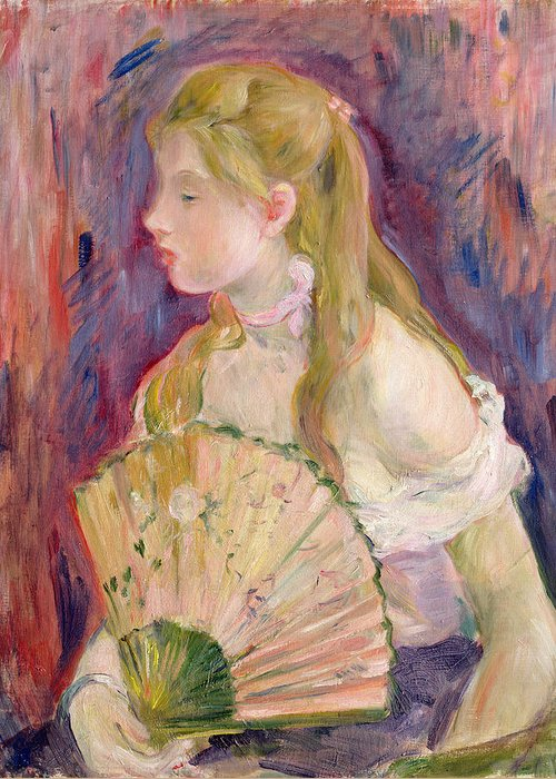 Young Greeting Card featuring the painting Young Girl With A Fan by Berthe Morisot