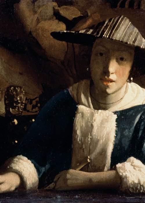 Vermeer Greeting Card featuring the painting Young Girl With A Flute by Jan Vermeer