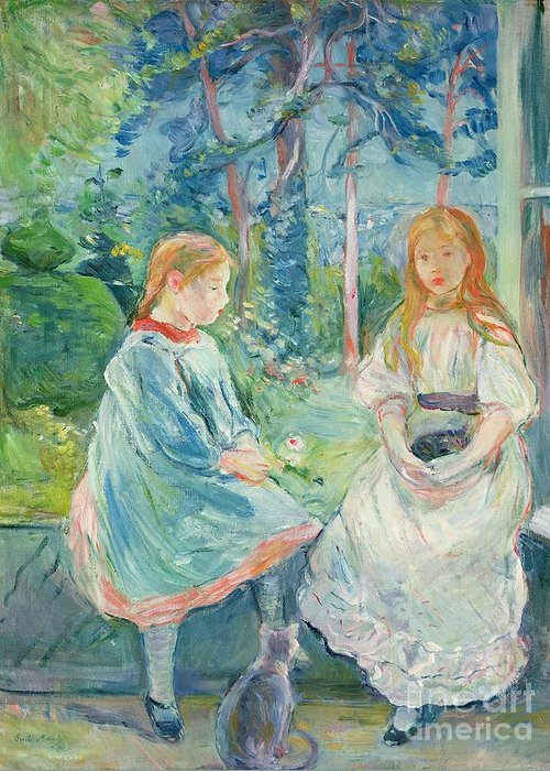 Young Greeting Card featuring the painting Young Girls At The Window by Berthe Morisot