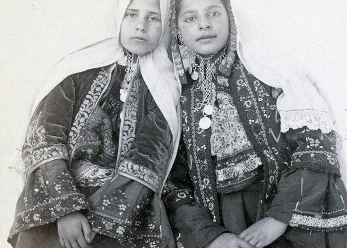 Portraits Greeting Card featuring the photograph Young Girls Of Bethlehem Year 1896 by Munir Alawi