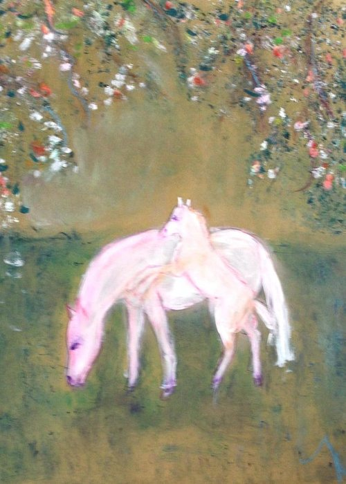 Horses Greeting Card featuring the painting Young Horses In Spring by Michela Akers