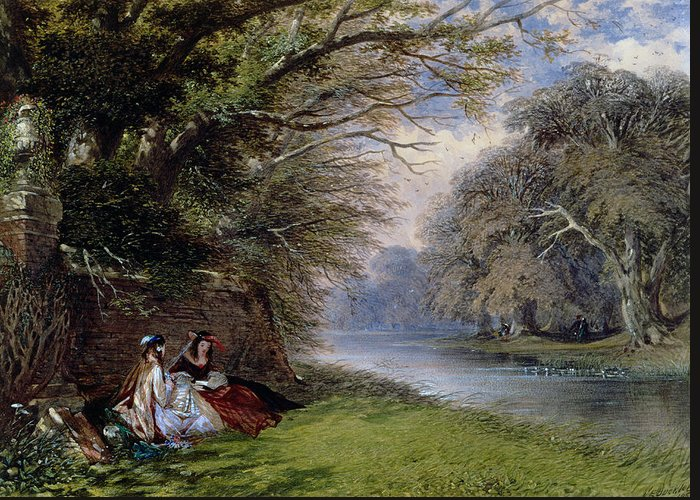 Young Greeting Card featuring the painting Young Ladies By A River by John Edmund Buckley