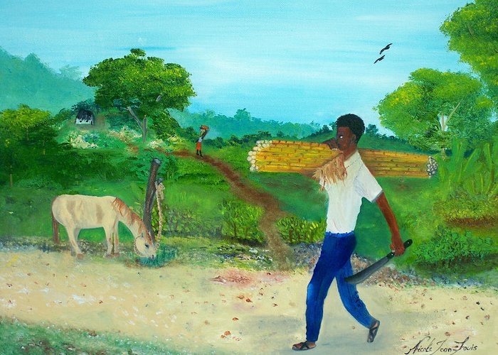 Nicole Jean-louis Greeting Card featuring the painting Young Man Carrying Sugarcane by Nicole Jean-Louis