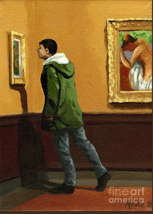 Artwork Greeting Card featuring the painting Young Man Viewing Art - Painting by Linda Apple