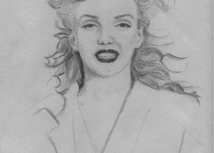 Young Marilyn Monroe Greeting Card featuring the drawing Young Marilyn Monroe by Julie Joseph
