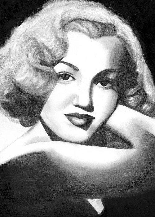 Portrait Greeting Card featuring the drawing Young Marilyn by Scarlett Royal