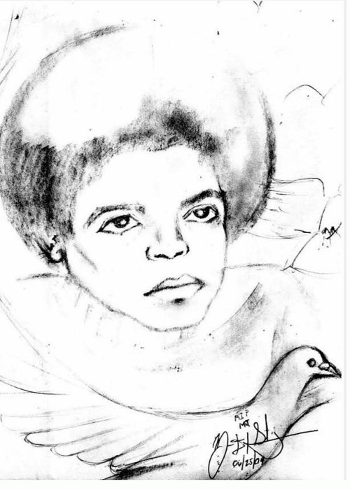 Mj Greeting Card featuring the drawing Young Micheal Jackson by HPrince De Artist