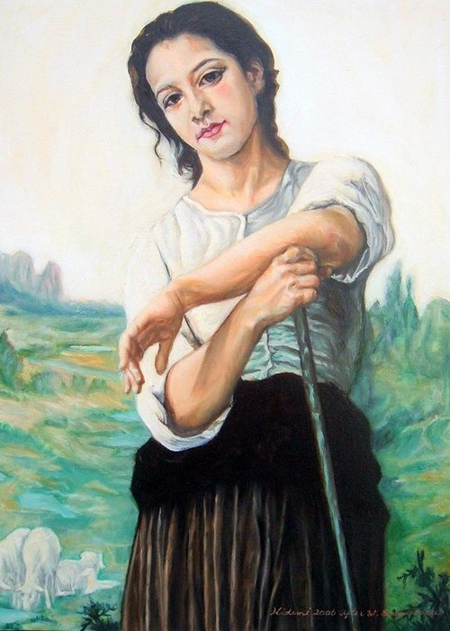Bouguereau Greeting Card featuring the painting Young Shepherdess Standing After W.bouguereau by Hidemi