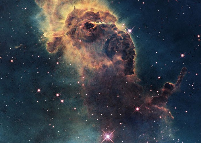 Young Stars Flare In The Carina Nebula Greeting Card by Nasa/Esa