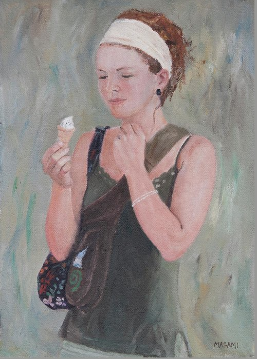 Portrait Greeting Card featuring the painting Young Woman And Ice-cream by Masami Iida