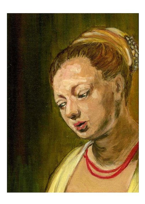 Rembrandt's Painting Greeting Card featuring the painting Young Woman by Asha Sudhaker Shenoy