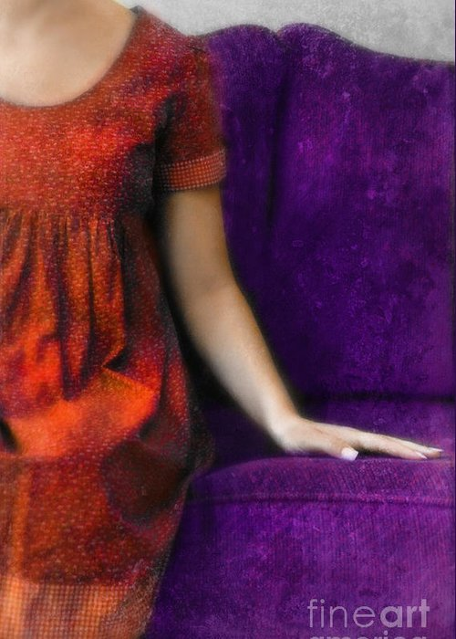 Woman Greeting Card featuring the photograph Young Woman In Red On Purple Couch by Jill Battaglia