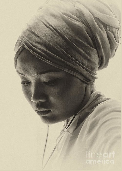 Young Woman Greeting Card featuring the photograph Young woman in turban by Sheila Smart Fine Art Photography