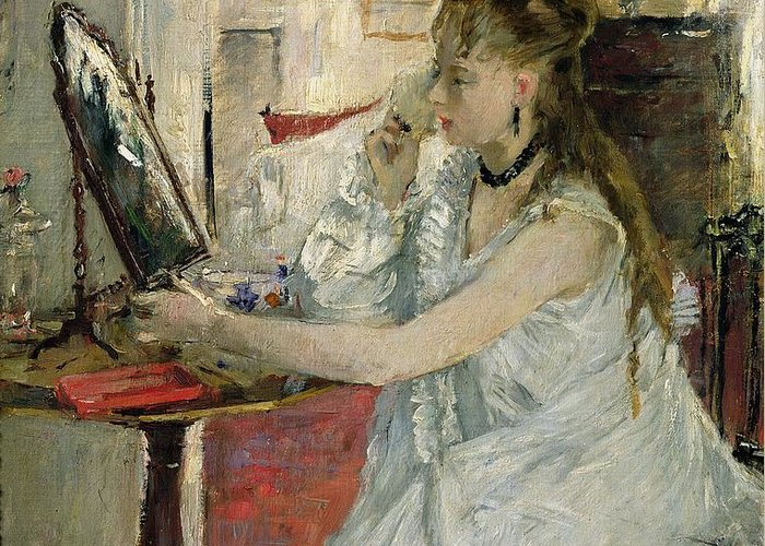 Young Greeting Card featuring the painting Young Woman Powdering Her Face by Berthe Morisot