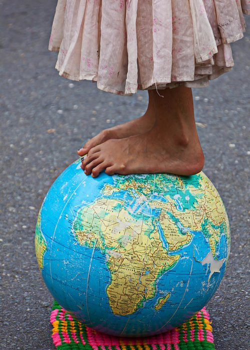 Foot Greeting Card featuring the photograph Young Woman Standing On Globe by Garry Gay