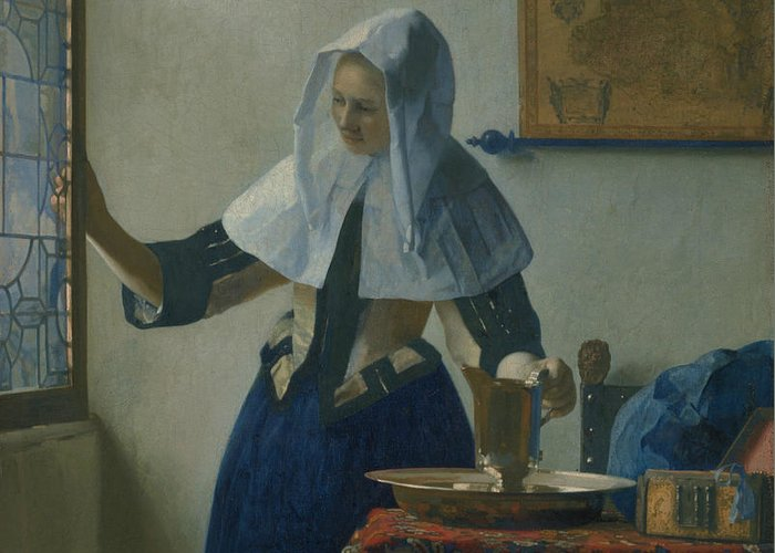 Jan Vermeer Greeting Card featuring the painting Young Woman With A Water Pitcher by Jan Vermeer