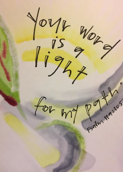 Light Greeting Card featuring the painting Your Word is a Light by Vonda Drees