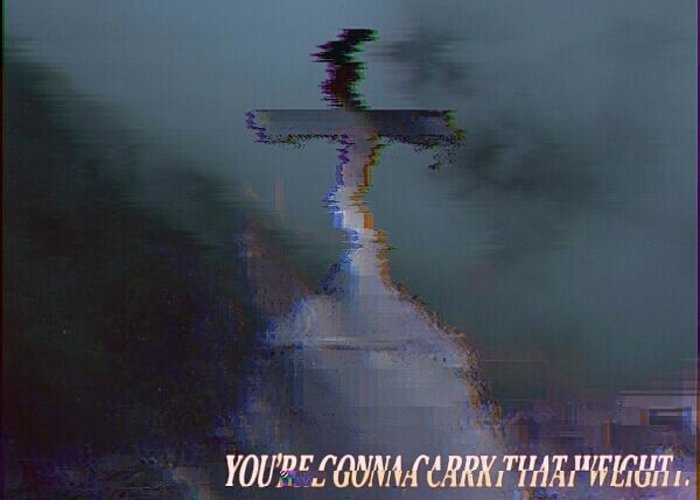 Youre gonna carry that weight greeting card for sale by broken antlers glitch greeting card featuring the digital art youre gonna carry that weight by broken m4hsunfo