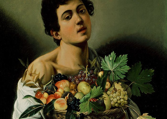 Youth With A Basket Of Fruit Greeting Card featuring the painting Youth With A Basket Of Fruit by Michelangelo Merisi da Caravaggio