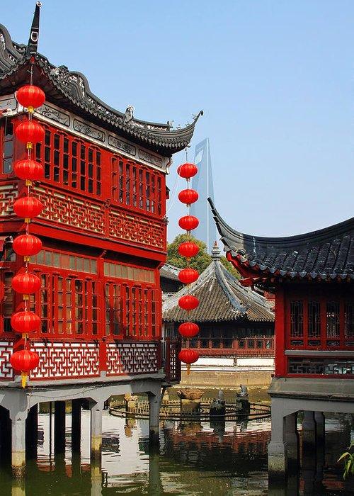 U Yuan Garden Greeting Card featuring the photograph Yu Gardens - A Classic Chinese Garden In Shanghai by Christine Till