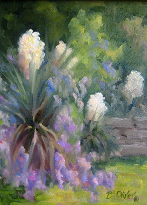 Yucca Greeting Card featuring the painting Yucca And Wisteria by Bunny Oliver