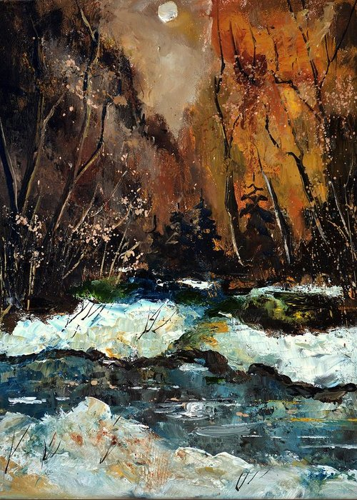 Landscape Greeting Card featuring the painting Ywoigne River 4561 by Pol Ledent