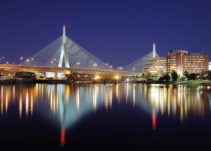 Boston Greeting Card featuring the photograph Zakim Aglow by Rick Berk
