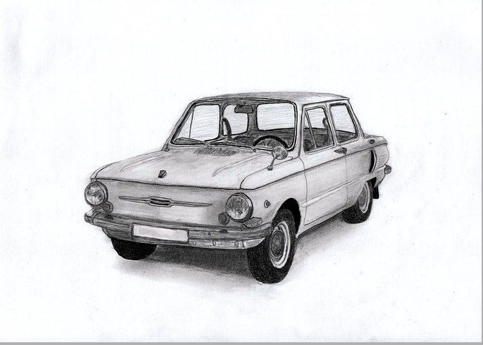 Car Greeting Card featuring the drawing Zaz-966 Zaporozhets by Kokas Art