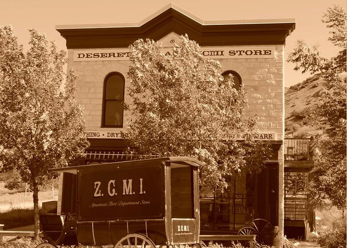 Sepia Greeting Card featuring the photograph Zcmi Store And Delivery Wagon by Dennis Hammer