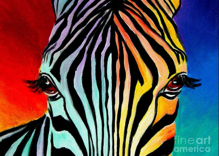 Wild Greeting Card featuring the painting Zebra - End Of The Rainbow by Alicia VanNoy Call