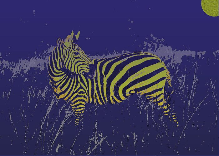 Zebra Greeting Card featuring the photograph Zebra At Night by Jim Kuhlmann